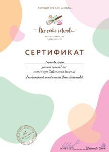 Сертификат 2 кондитерской Cupcake Queen